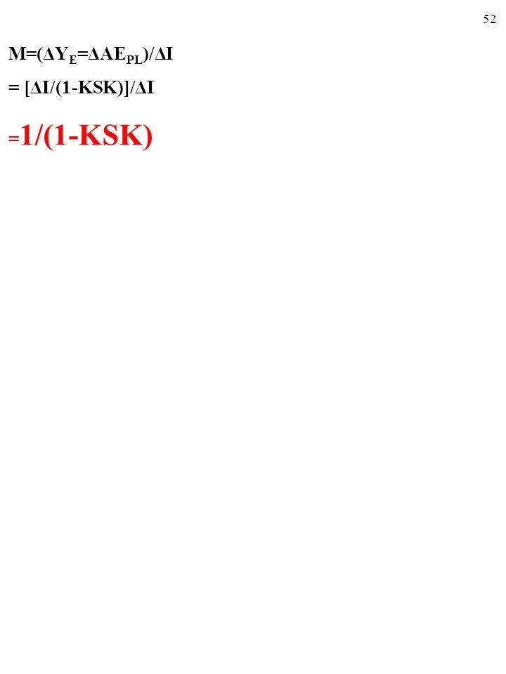 M=(ΔYE=ΔAEPL)/ΔI = [ΔI/(1-KSK)]/ΔI =1/(1-KSK)